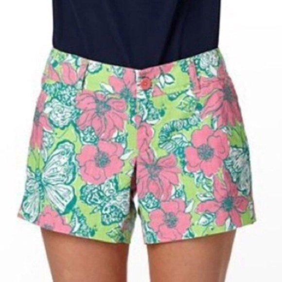 LillyPulitzer Callahan Shorts Pink Green Butterfly
